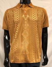 Knit Bronze Polo Shirts for Men