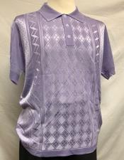 Lilac Italian Knit Shiny Polo Shirts for Men