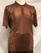 Mens Brown Shiny Polo Shirts