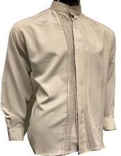Fancy Button Banded Collar Shirts for Men