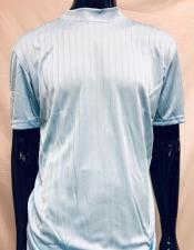 Mens Light Blue Rayon Material Stripe Mock Neck Shirt