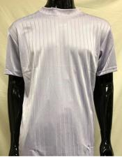Mens Lilac Stripe Short Sleeve Mock Neck Shirt