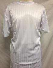 Mens White Silky Rayon Short Sleeve Mock Neck Shirt