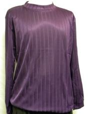 Mens Purple  Stripe Short Sleeve Mock Neck Shirt
