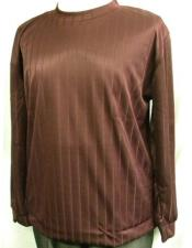Burgundy Stripe Poly Mock Neck Shirt