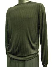 Mens Black Rayon/Poly Mock Neck Shirt