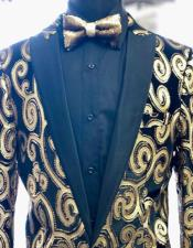 Mens Gold ~ Black Peak Lapel Tuxedo Blazer