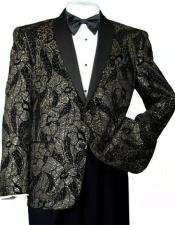 Mens Shiny Sequins Slim Blazer Paisley Tuxedo Jacket Black/Gold