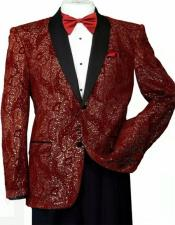 Mens Burgundy/Gold Shawl Collar Shiny Sequins Slim Blazer