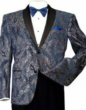 Mens Shiny Sequins Slim Blazer Paisley Tuxedo Jacket Blue/Gold