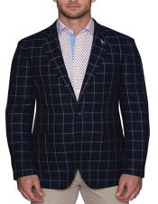 Mens Plaid Blazer Navy