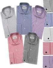 Fit Cotton Gingham Check French Cuff Shirt with Cufflinks Mens Dress