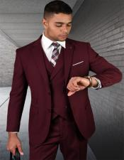 Wool Fabric  2 Button Vested Suit