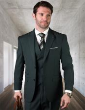 Wool One Chest Pocket 2 Button Vested Suit