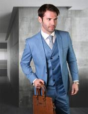 Blue Wool Fabric Suit