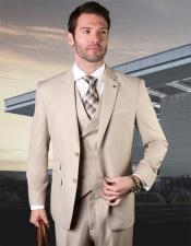 Two Button Two Flap Front Pockets Wool Fabric  Vested Suit