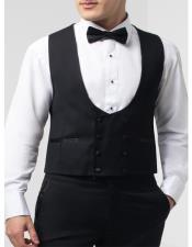 Mens Black Double Breasted Skinny Fit Tuxedo Vest