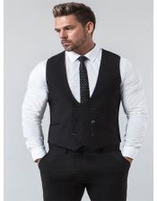 Mens Avail London Black Six Button Double Breasted Vest