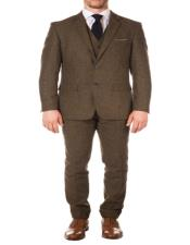 Mens Slim Fit Suit - Fitted Suit - Skinny Suit Cognac Modern