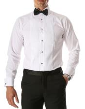 Mens Paris White Slim Fit Lay Down Collar Pleated Tuxedo Shirt