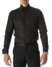 Mens Black Venice Slim Fit Pique Lay Down Collar Shirt