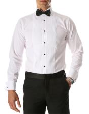Mens Paris White Regular Fit Lay Down Collar Pleated Tuxedo Shirt