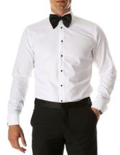 Mens White Venice Slim Fit Pique Lay Down Collar Shirt