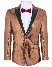 Gold ~ Pinkish Gold Sequin Prom ~ Wedding Fashion Blazer and Tuxedo Jacket With Bowtie