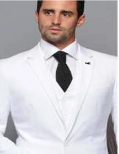 Extra Slim Fit ~ Tapered Fitted European Cut Suit White