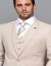 Extra Slim Fit ~ Tapered Fitted European Cut Suit Tan