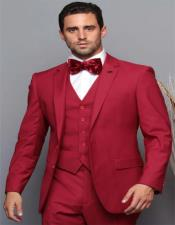 Red Tapered Fitted European Cut Suit