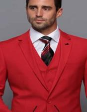 Extra Slim Fit ~ Tapered Fitted European Cut Suit Red