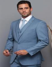 Extra Slim Fit ~ Tapered Fitted European Cut Suit Ocean Blue