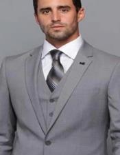 Extra Slim Fit ~ Tapered Fitted European Cut Suit Grey