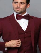 Mens Slim Fit Suit - Fitted Suit - Skinny Suit Burgundy Tapered