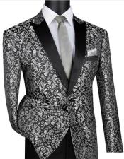 Silver & Black Polyester/Rayon One Button Blazer