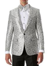 Silver & Black Two Side Vents Satin Shawl Collar Blazer
