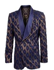 Double Breasted Tuxedo Navy ~ Gold Microfiber Velvet Collar Fashion Sport Coat