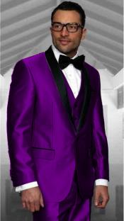 Purple Tuxedo Shawl Collar Vested Jacket