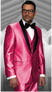 Pink Tuxedo Shawl Collar Vested Jacket & Vest & Pants 3 Piece