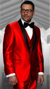 Red Tuxedo Shawl Collar Vested Jacket & Vest & Pants 3 Piece