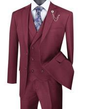 Square Plaid Mens Suit 3 Piece Burgundy Suit