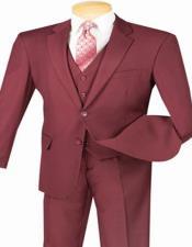 Burgundy 3 Piece Maroon Suit  for Men