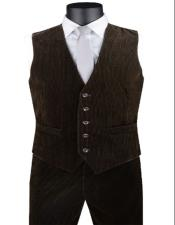 Corduroy Pants + Matching Vest Package Set + Brown