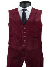 Corduroy Pants + Matching Vest Package Set + Burgundy