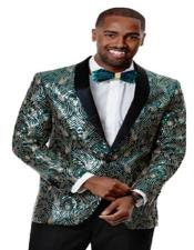Mens Green Woven Silky Fabric Prom Tuxedo