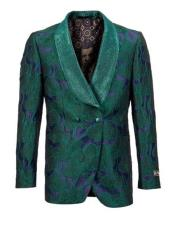 Mens Green Double Vents Shawl Lapel