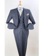 Mens Plaid Suit Classic Fit Suit Grey Windowpane Classic Fit  Wool