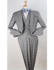 Grey Windowpane Vested Pleated Pants Classic Fit Checkered Suit