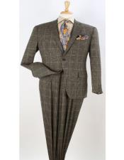 Classic Fit Suit Mens Yellow Windowpane Plaid Wool Checkered Suit